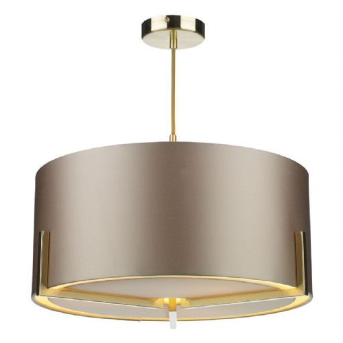 Huxley 3Lt Pendant Gold Complete with Shade (Choose colour) HUX0335 (Hand made, 10-14 day Delivery)